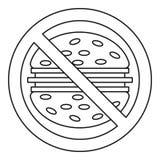Ícone do perigo do fast food, estilo do esboço ilustração do vetor
