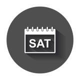 Ícone do pictograma da página do calendário de sábado Fotos de Stock Royalty Free