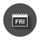 Ícone do pictograma da página do calendário de sexta-feira Fotos de Stock Royalty Free