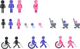 Ícone do pictograma dos povos com gênero Imagem de Stock Royalty Free