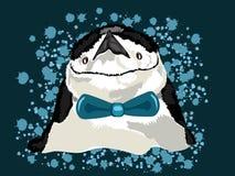 Ícone do pinguim com fundo azul no tipo à moda do vetor com o laço na ilustração do vetor