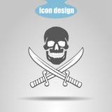 Ícone do pirata Crânio com duas espadas em um fundo cinzento Ilustração do vetor ilustração stock