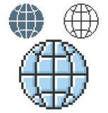 Ícone do pixel do globo ilustração do vetor