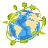 Ícone do planeta da terra com árvores e ecologia Sinal de Eco Imagens de Stock
