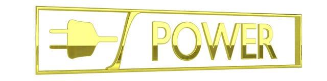 Ícone do poder do ouro - 3D rendem Imagens de Stock Royalty Free