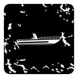 Ícone do Powerboat, estilo do grunge ilustração royalty free