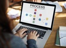 Ícone do processo da informação do fluxograma Imagem de Stock Royalty Free