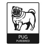 Ícone do puro-sangue do Pug, estilo simples ilustração stock