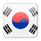 Ícone do quadrado do vetor da bandeira de Coreia do Sul Fotos de Stock Royalty Free