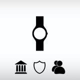 Ícone do relógio de pulso, ilustração do vetor Estilo liso do projeto Imagens de Stock