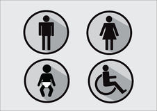 Ícone do símbolo do toalete da inabilidade e da criança da mulher do homem ilustração do vetor