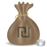 Ícone do saco do dinheiro com símbolo israelita do shekel Foto de Stock