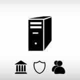 Ícone do servidor de computador, ilustração do vetor Estilo liso do projeto Imagens de Stock Royalty Free