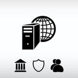 Ícone do servidor de computador, ilustração do vetor Estilo liso do projeto Imagem de Stock