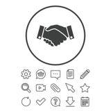 Ícone do sinal do aperto de mão Símbolo bem sucedido do negócio ilustração stock