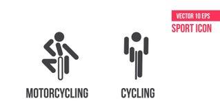 Ícone do sinal do ciclismo e do motociclismo, logotipo Ajuste da linha ícones do vetor do esporte pictograma do atleta ilustração do vetor