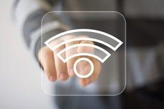 Ícone do sinal da conexão de Wifi do botão do negócio Fotos de Stock Royalty Free