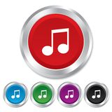 Ícone do sinal da nota da música. Símbolo musical. Fotografia de Stock