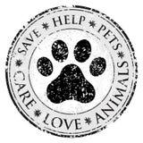 Ícone do sinal da pata do cão Pets o símbolo Botão textured sujo da Web Selo do cargo do Grunge do vetor Bandeira ou etiqueta do  Fotos de Stock Royalty Free