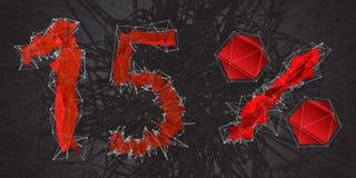 ícone do sinal da venda de 15% Símbolo do disconto Venda de Black Friday, estação d Foto de Stock