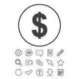ícone do sinal de dólar Símbolo de moeda de USD Foto de Stock