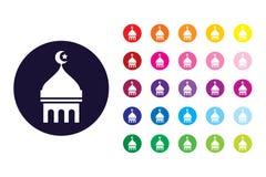 Ícone do sinal de Masjid Símbolo da cor de Masjid ilustração royalty free