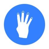 Ícone do sinal de Rabia no estilo preto isolado no fundo branco Ilustração do vetor do estoque do símbolo dos gestos de mão Fotos de Stock