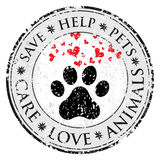 Ícone do sinal do amor do coração da pata do cão Pets o botão textured símbolo da Web Selo do cargo do Grunge do vetor Bandeira o Fotos de Stock