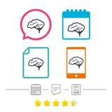 Ícone do sinal do cérebro Mente esperta inteligente ilustração do vetor
