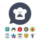 Ícone do sinal do chapéu do cozinheiro chefe Cozinhando o símbolo Imagem de Stock