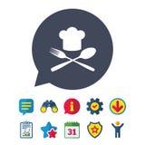 Ícone do sinal do chapéu do cozinheiro chefe Cozinhando o símbolo Fotografia de Stock Royalty Free