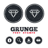 Ícone do sinal do diamante Símbolo da joia Gem Stone ilustração stock