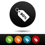 ícone do sinal do preço da venda de 80% Símbolo do disconto do vetor Etiqueta da oferta especial Foto de Stock Royalty Free