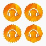 Ícone do sinal dos fones de ouvido Botão dos fones de ouvido Imagem de Stock Royalty Free