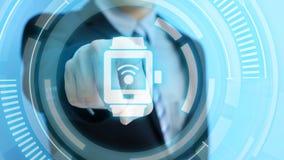 Ícone do smartwatch do toque do homem Fotos de Stock