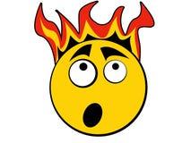 Ícone do smiley assustador do incêndio Fotos de Stock Royalty Free