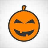 Ícone do smiley da cor da abóbora de Dia das Bruxas Imagens de Stock