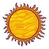 Ícone do sol do espaço, estilo tirado mão ilustração stock