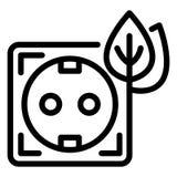 Ícone do soquete da energia de Eco, estilo do esboço ilustração royalty free