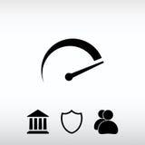 Ícone do tacômetro, ilustração do vetor Estilo liso do projeto Fotos de Stock Royalty Free