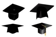 Ícone do tampão da graduação no branco fotos de stock royalty free