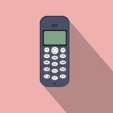 Ícone do telefone celular do botão Ilustração do vetor do dispositivo móvel Projeto liso do estilo com sombra longa Imagens de Stock Royalty Free
