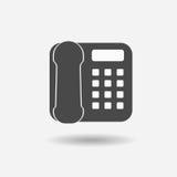 Ícone do telefone do escritório no plano na moda no fundo cinzento Ilustração do vetor Fotografia de Stock Royalty Free