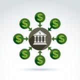Ícone do tema do crédito de operação bancária e do dinheiro do depósito, vetor Fotos de Stock Royalty Free