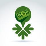 Ícone do tema do salário do dinheiro com dólar e 3 setas Imagens de Stock Royalty Free