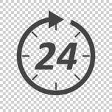 Ícone do tempo Ilustração lisa do vetor 24 horas no backgro isolado Foto de Stock