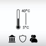 Ícone do termômetro, ilustração do vetor Estilo liso do projeto Imagens de Stock