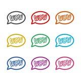 Ícone do texto do wow ou logotipo cômico, grupo de cor ilustração do vetor