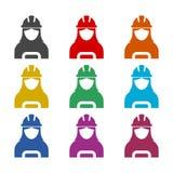 Ícone do trabalhador da construção da mulher ou logotipo, grupo de cor ilustração stock