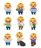 Ícone do trabalhador dos desenhos animados Imagens de Stock